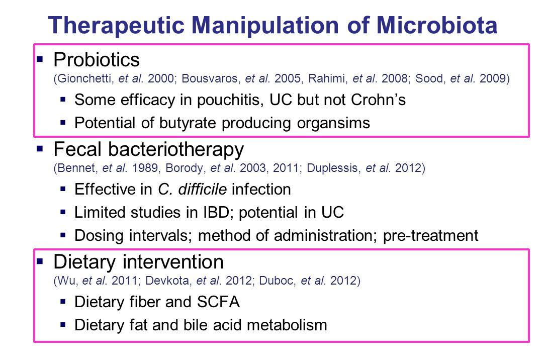 Therapeutic Manipulation of Microbiota  Probiotics (Gionchetti, et al.