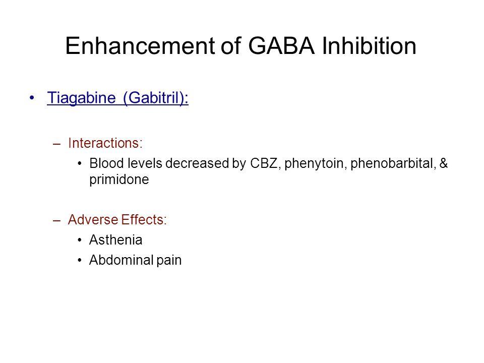 Enhancement of GABA Inhibition Tiagabine (Gabitril): –Interactions: Blood levels decreased by CBZ, phenytoin, phenobarbital, & primidone –Adverse Effe