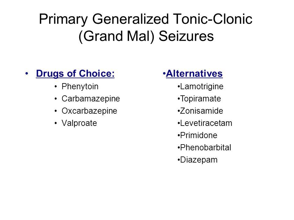 Primary Generalized Tonic-Clonic (Grand Mal) Seizures Drugs of Choice: Phenytoin Carbamazepine Oxcarbazepine Valproate Alternatives Lamotrigine Topira