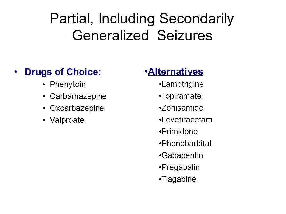 Partial, Including Secondarily Generalized Seizures Drugs of Choice: Phenytoin Carbamazepine Oxcarbazepine Valproate Alternatives Lamotrigine Topirama