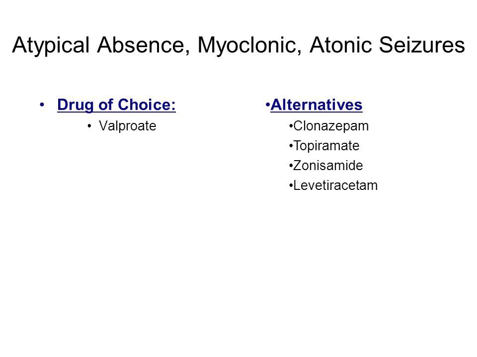 Atypical Absence, Myoclonic, Atonic Seizures Drug of Choice: Valproate Alternatives Clonazepam Topiramate Zonisamide Levetiracetam