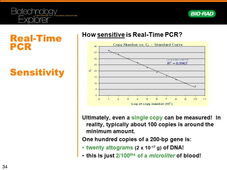 34 Real-Time PCR Sensitivity How sensitive is Real-Time PCR? Ultimately, even a single copy can be measured! In reality, typically about 100 copies is