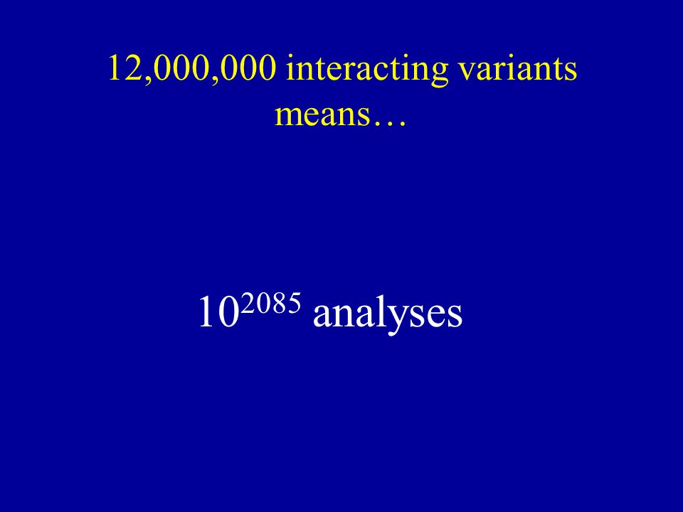 12,000,000 interacting variants means… 10 2085 analyses