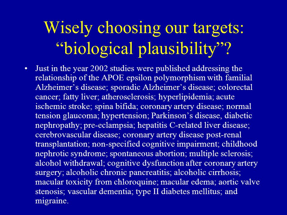 """Wisely choosing our targets: """"biological plausibility""""? Just in the year 2002 studies were published addressing the relationship of the APOE epsilon p"""