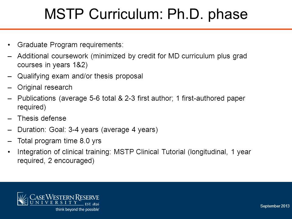September 2013 MSTP Curriculum: Ph.D.