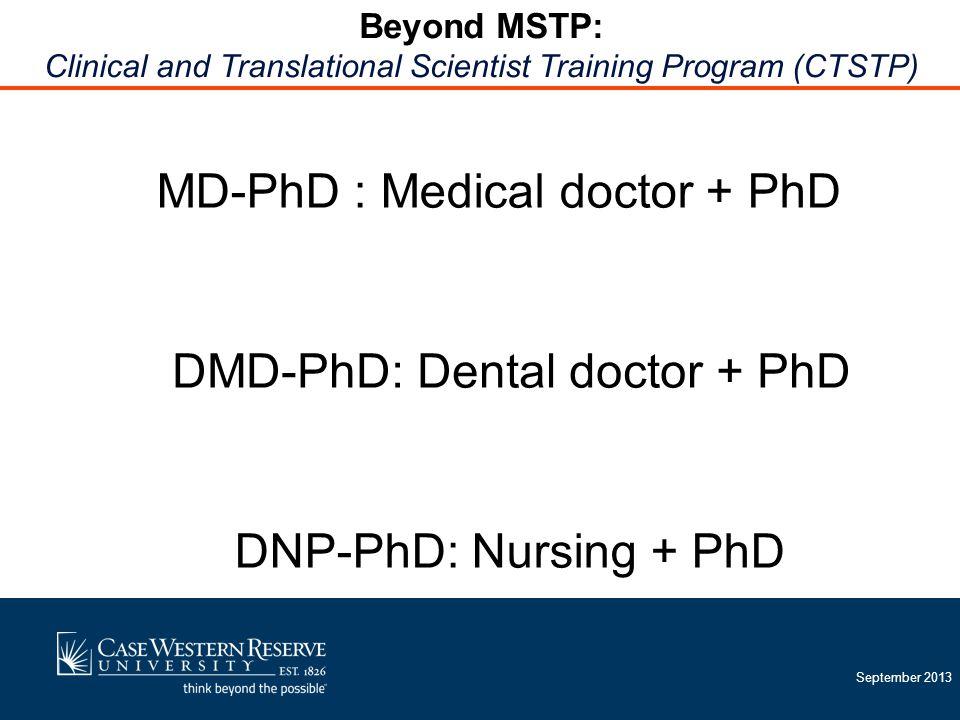 September 2013 MD-PhD : Medical doctor + PhD DMD-PhD: Dental doctor + PhD DNP-PhD: Nursing + PhD Beyond MSTP: Clinical and Translational Scientist Training Program (CTSTP)