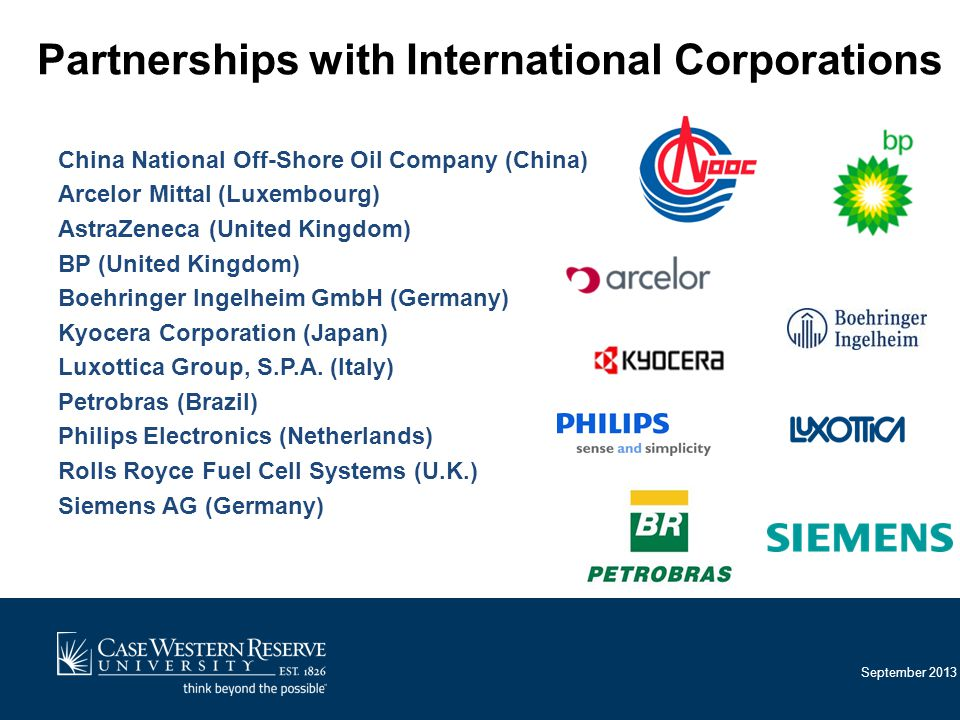 September 2013 Partnerships with International Corporations China National Off-Shore Oil Company (China) Arcelor Mittal (Luxembourg) AstraZeneca (United Kingdom) BP (United Kingdom) Boehringer Ingelheim GmbH (Germany) Kyocera Corporation (Japan) Luxottica Group, S.P.A.