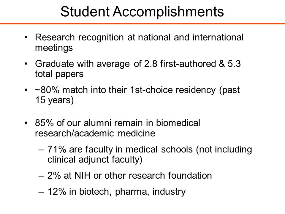 85% of our alumni remain in biomedical research/academic medicine –71% are faculty in medical schools (not including clinical adjunct faculty) –2% at NIH or other research foundation –12% in biotech, pharma, industry Research recognition at national and international meetings Graduate with average of 2.8 first-authored & 5.3 total papers ~80% match into their 1st-choice residency (past 15 years) Student Accomplishments