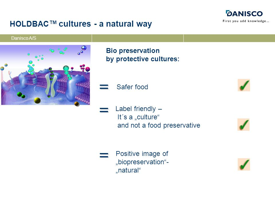 Danisco A/S Protective Cultures - categories PROTECTIVECULTURE STARTERCULTURE Starter Cultures Adjunct-Cultures Multi-functional Cultures Non-fermenting Protective Cultures fermentation processes: Changes of taste, flavour and texture no influence on sensory characteristics