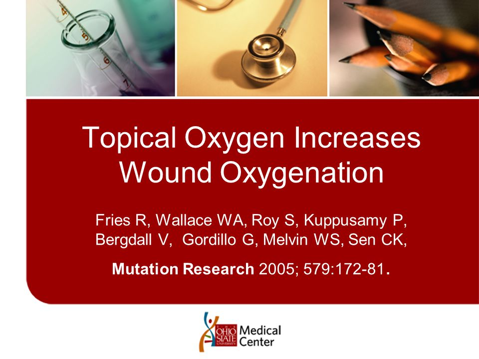 Topical Oxygen Increases Wound Oxygenation Fries R, Wallace WA, Roy S, Kuppusamy P, Bergdall V, Gordillo G, Melvin WS, Sen CK, Mutation Research 2005; 579:172-81.