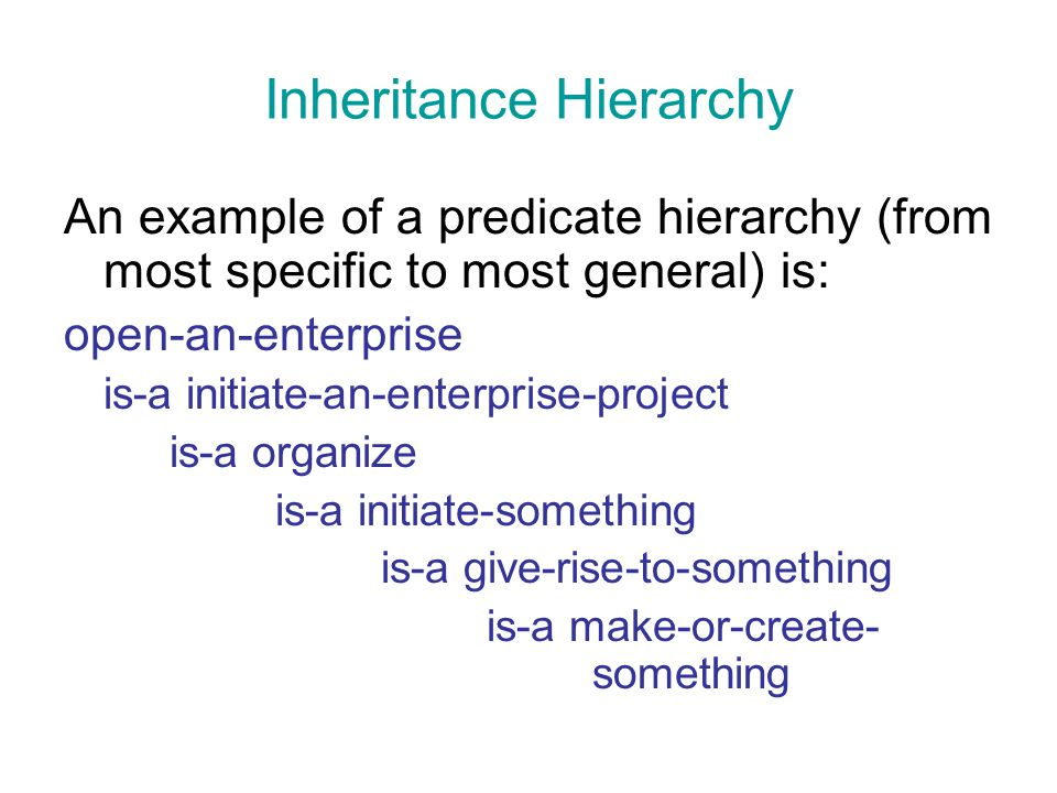 Inheritance Hierarchy An example of a predicate hierarchy (from most specific to most general) is: open-an-enterprise is-a initiate-an-enterprise-proj