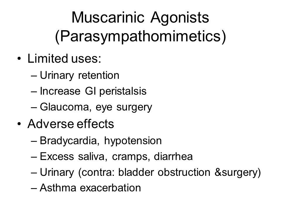 Muscarinic Agonists (Parasympathomimetics) Limited uses: –Urinary retention –Increase GI peristalsis –Glaucoma, eye surgery Adverse effects –Bradycard