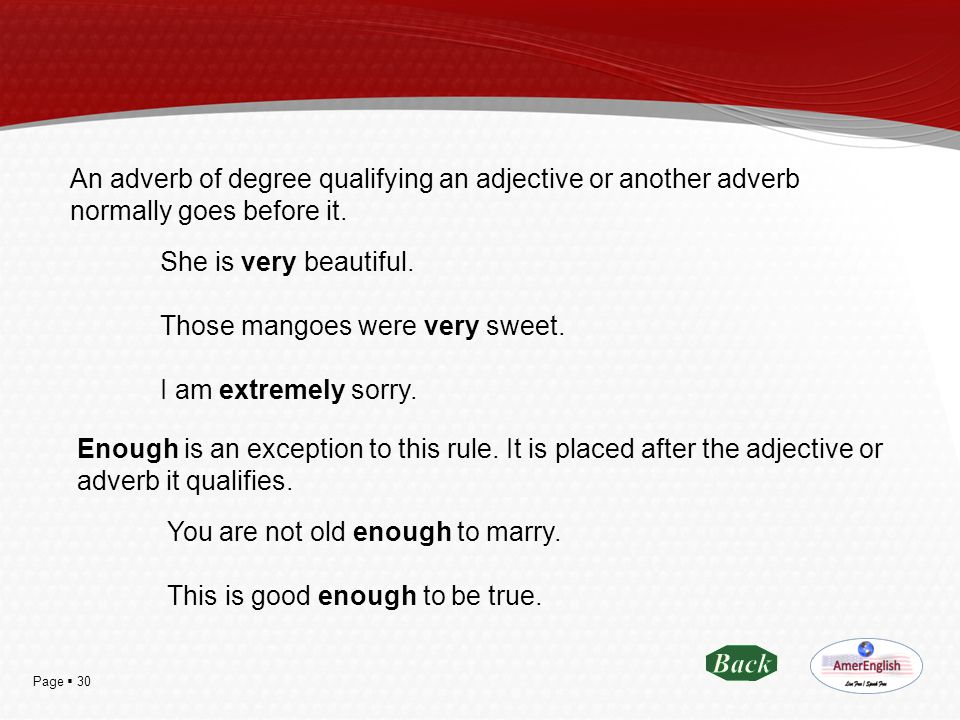 Page  30 An adverb of degree qualifying an adjective or another adverb normally goes before it. She is very beautiful. Those mangoes were very sweet.
