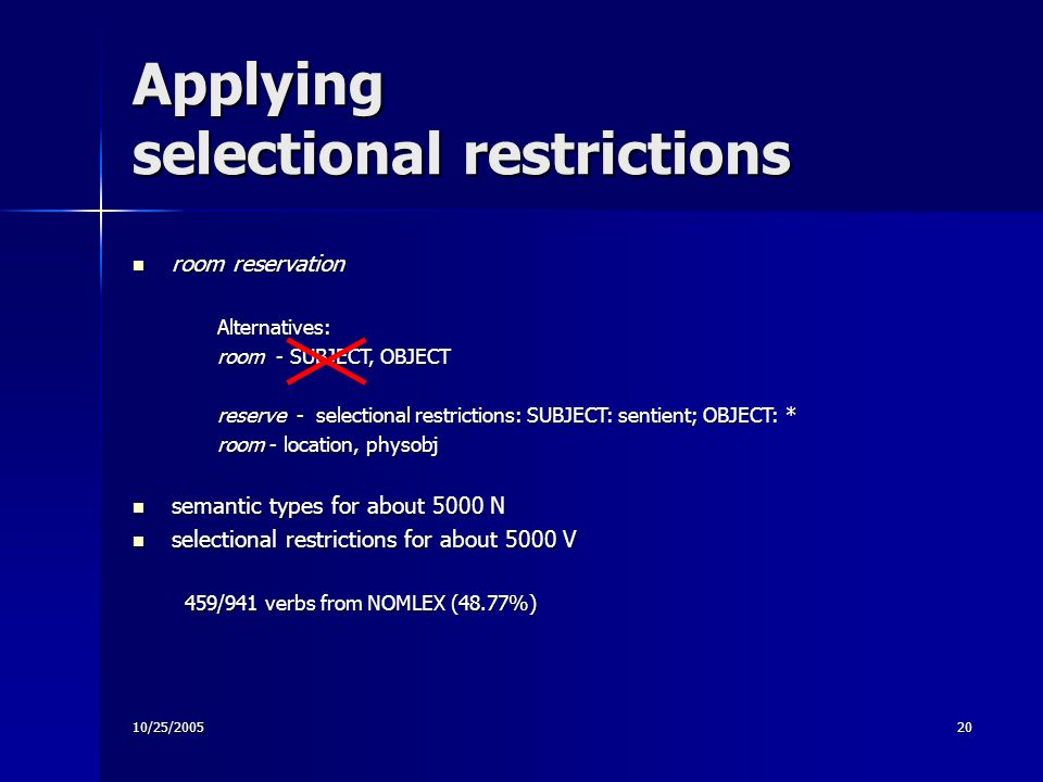10/25/200520 Applying selectional restrictions room reservation room reservationAlternatives: room - SUBJECT, OBJECT reserve - selectional restrictions: SUBJECT: sentient; OBJECT: * room - location, physobj semantic types for about 5000 N semantic types for about 5000 N selectional restrictions for about 5000 V selectional restrictions for about 5000 V 459/941 verbs from NOMLEX (48.77%)