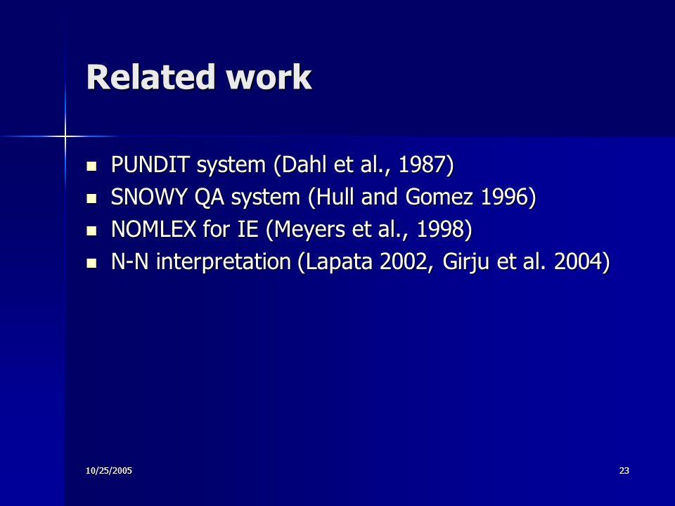 10/25/200523 Related work PUNDIT system (Dahl et al., 1987) PUNDIT system (Dahl et al., 1987) SNOWY QA system (Hull and Gomez 1996) SNOWY QA system (Hull and Gomez 1996) NOMLEX for IE (Meyers et al., 1998) NOMLEX for IE (Meyers et al., 1998) N-N interpretation (Lapata 2002, Girju et al.