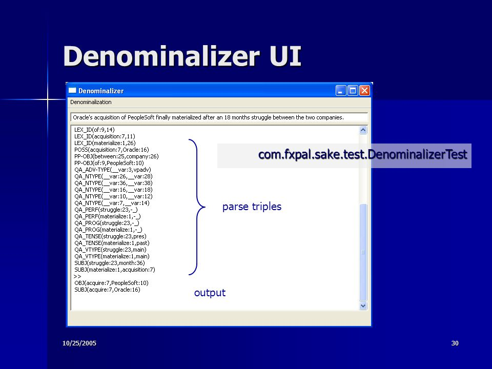 10/25/200530 Denominalizer UI parse triples output com.fxpal.sake.test.DenominalizerTest