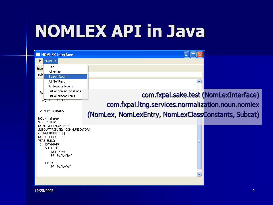 10/25/20059 NOMLEX API in Java com.fxpal.sake.test (NomLexInterface) com.fxpal.ltng.services.normalization.noun.nomlex (NomLex, NomLexEntry, NomLexClassConstants, Subcat)