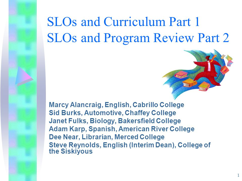 1 SLOs and Curriculum Part 1 SLOs and Program Review Part 2 Marcy Alancraig, English, Cabrillo College Sid Burks, Automotive, Chaffey College Janet Fulks, Biology, Bakersfield College Adam Karp, Spanish, American River College Dee Near, Librarian, Merced College Steve Reynolds, English (Interim Dean), College of the Siskiyous