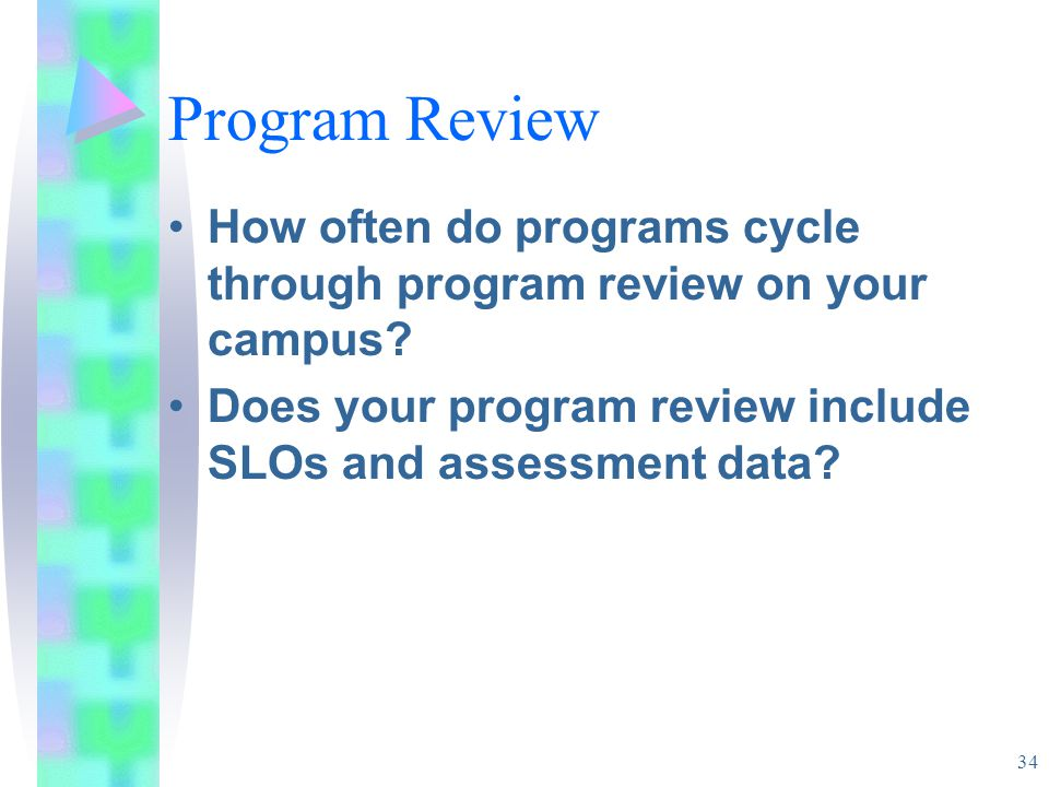34 Program Review How often do programs cycle through program review on your campus.