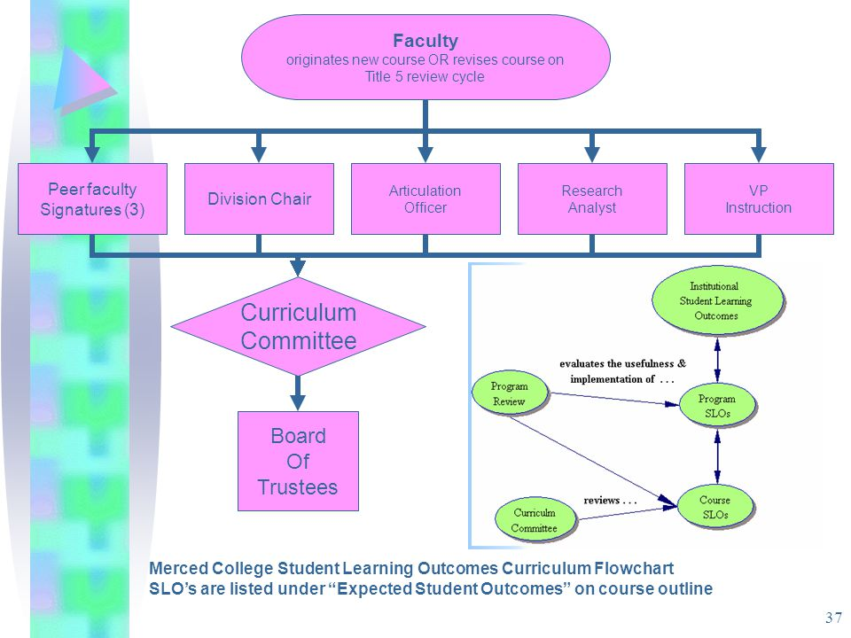 37 Merced College Student Learning Outcomes Curriculum Flowchart SLO's are listed under Expected Student Outcomes on course outline Faculty originates new course OR revises course on Title 5 review cycle Peer faculty Signatures (3) Curriculum Committee Articulation Officer VP Instruction Division Chair Research Analyst Board Of Trustees