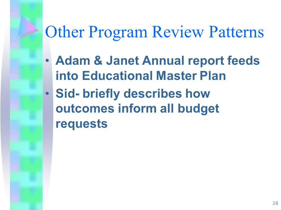 38 Other Program Review Patterns Adam & Janet Annual report feeds into Educational Master Plan Sid- briefly describes how outcomes inform all budget requests