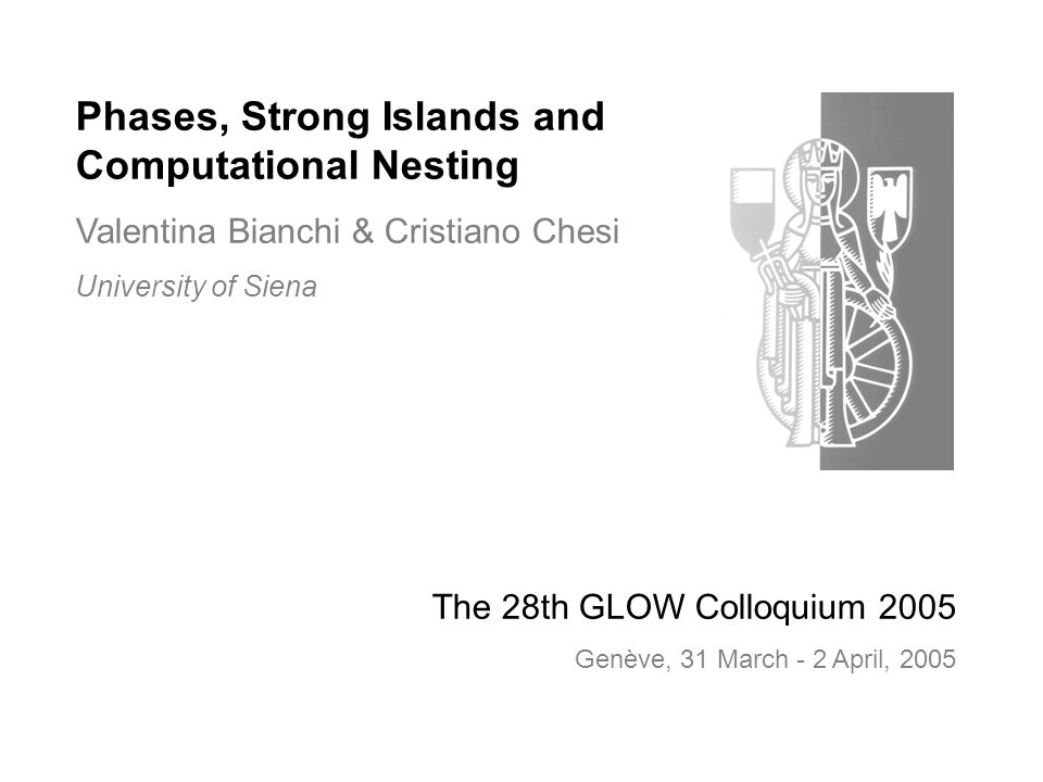 Phases, Strong Islands and Computational Nesting Valentina Bianchi & Cristiano Chesi University of Siena The 28th GLOW Colloquium 2005 Genève, 31 March - 2 April, 2005