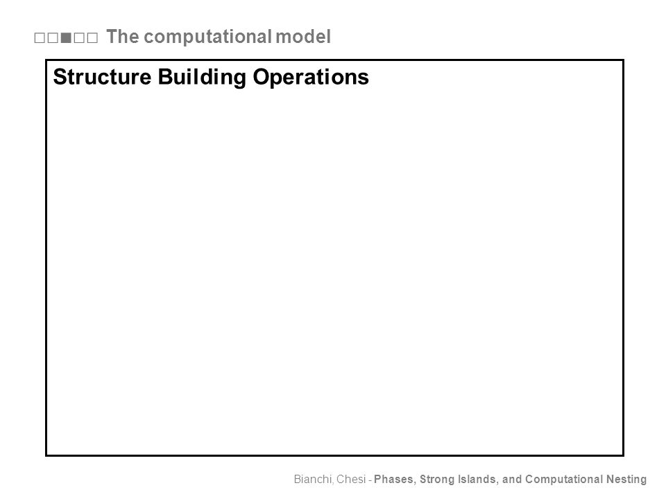 Bianchi, Chesi - Phases, Strong Islands, and Computational Nesting Structure Building Operations (merge, move, phase) □□■□□ The computational model Structure Building Operations Structure Building Operations