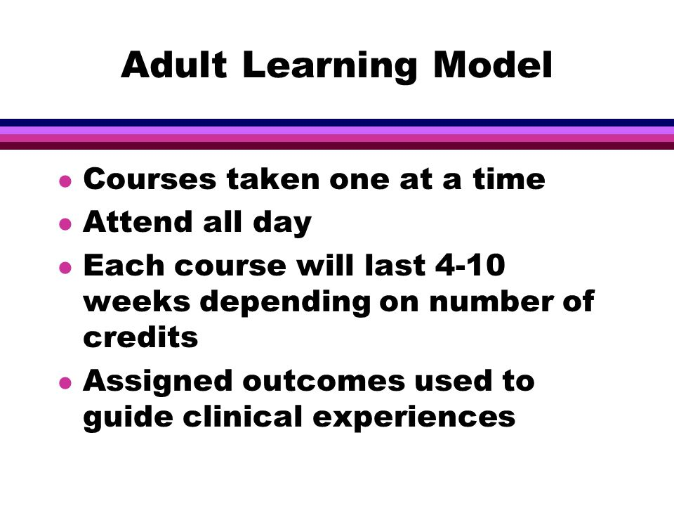 Adult Learning Model l Courses taken one at a time l Attend all day l Each course will last 4-10 weeks depending on number of credits l Assigned outcomes used to guide clinical experiences