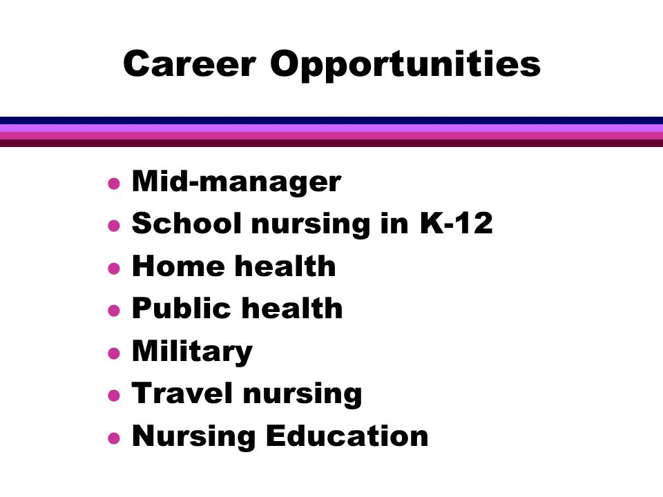 Career Opportunities l Mid-manager l School nursing in K-12 l Home health l Public health l Military l Travel nursing l Nursing Education