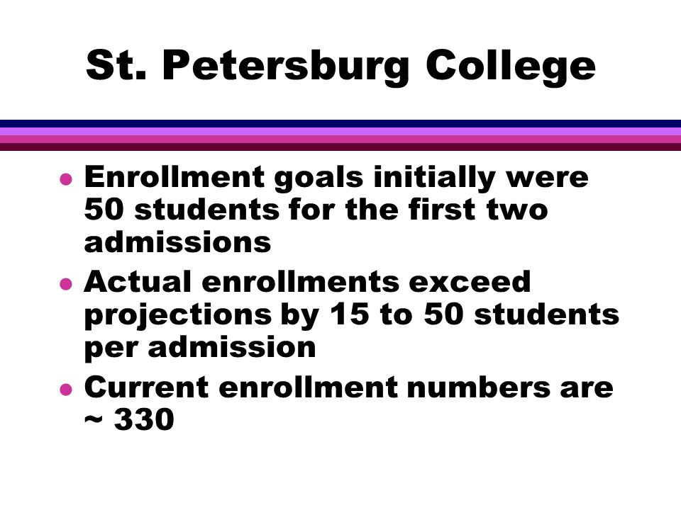 St. Petersburg College l Enrollment goals initially were 50 students for the first two admissions l Actual enrollments exceed projections by 15 to 50