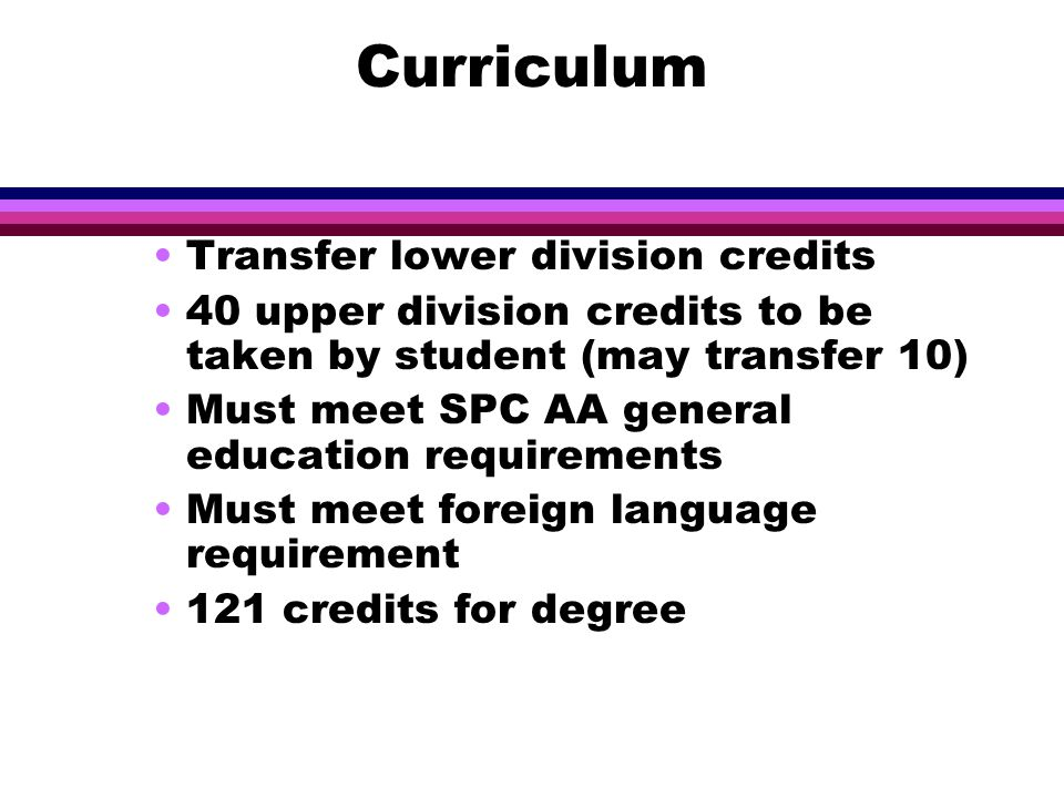 Curriculum Transfer lower division credits 40 upper division credits to be taken by student (may transfer 10) Must meet SPC AA general education requirements Must meet foreign language requirement 121 credits for degree