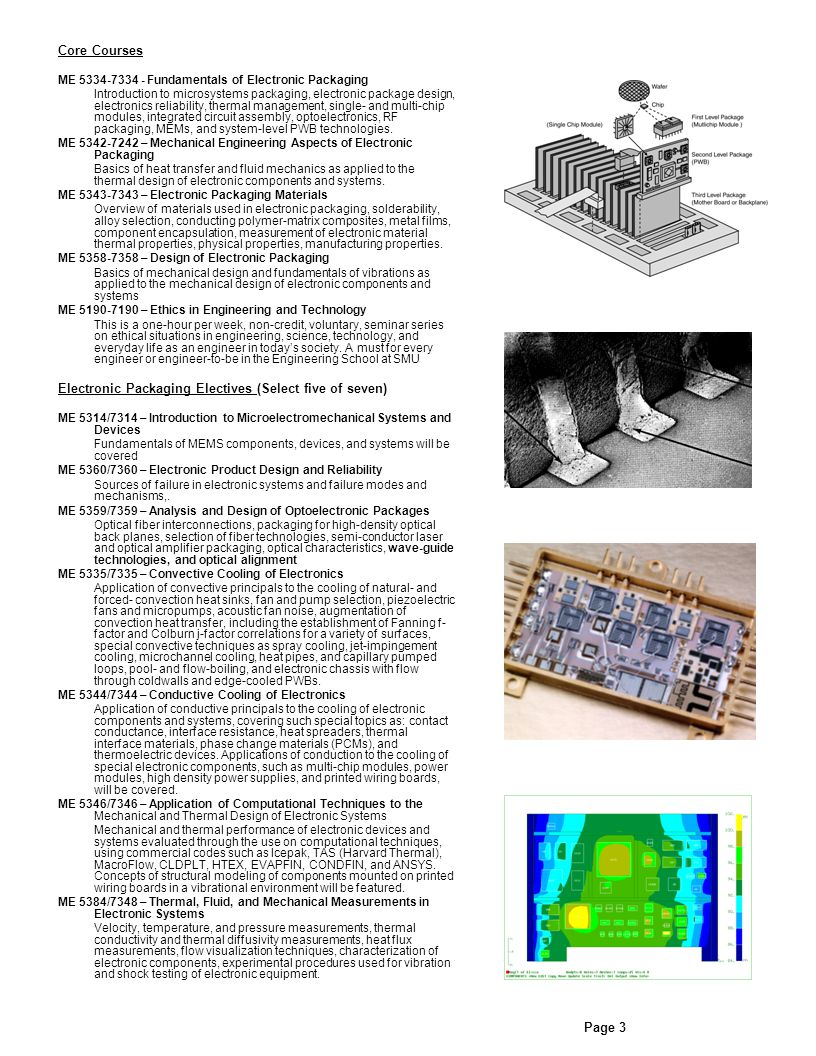 Core Courses ME 5334-7334 - Fundamentals of Electronic Packaging Introduction to microsystems packaging, electronic package design, electronics reliability, thermal management, single- and multi-chip modules, integrated circuit assembly, optoelectronics, RF packaging, MEMs, and system-level PWB technologies.