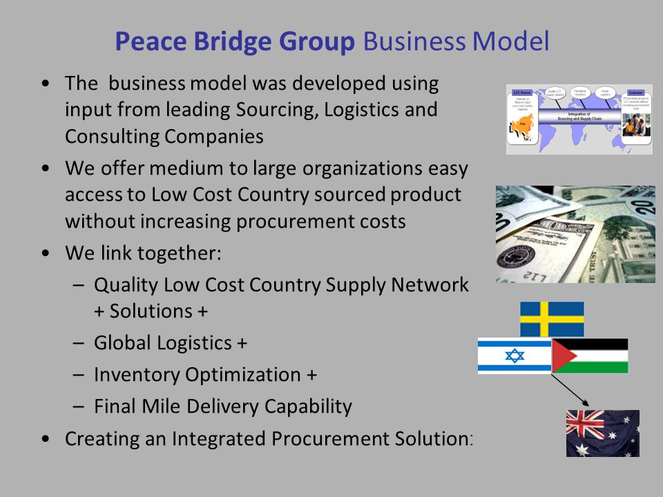 Peace Bridge Group Business Model The business model was developed using input from leading Sourcing, Logistics and Consulting Companies We offer medium to large organizations easy access to Low Cost Country sourced product without increasing procurement costs We link together: –Quality Low Cost Country Supply Network + Solutions + –Global Logistics + –Inventory Optimization + –Final Mile Delivery Capability Creating an Integrated Procurement Solution :