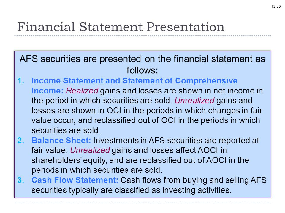 12-20 Financial Statement Presentation AFS securities are presented on the financial statement as follows: 1.Income Statement and Statement of Compreh