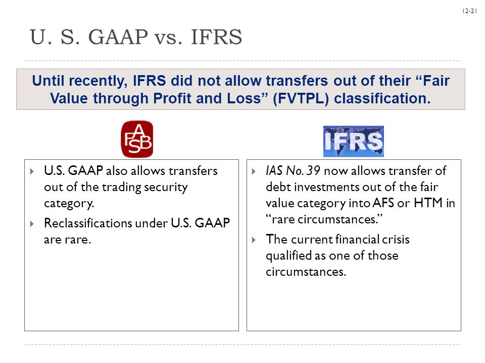 12-21 U. S. GAAP vs. IFRS  U.S. GAAP also allows transfers out of the trading security category.  Reclassifications under U.S. GAAP are rare. Until