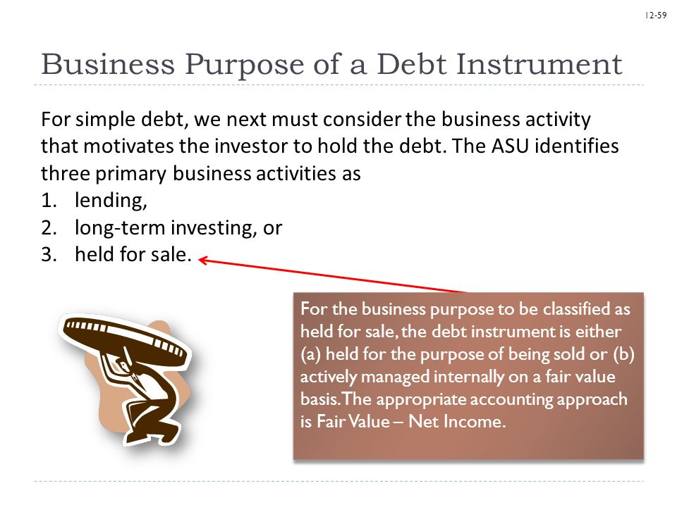 12-59 Business Purpose of a Debt Instrument For simple debt, we next must consider the business activity that motivates the investor to hold the debt.