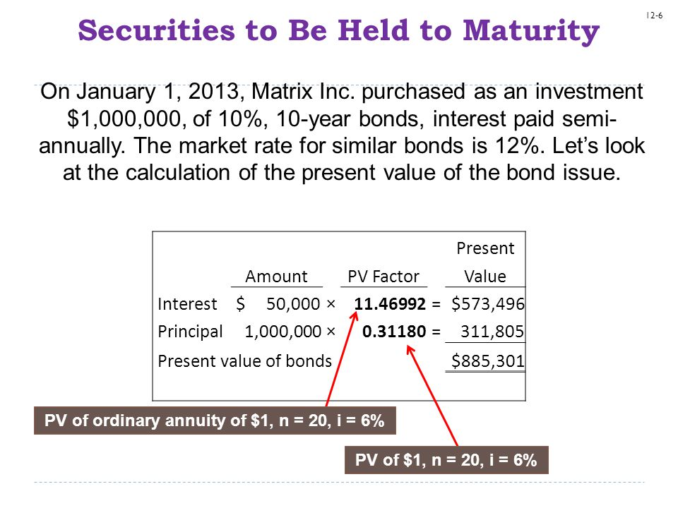12-6 Securities to Be Held to Maturity On January 1, 2013, Matrix Inc. purchased as an investment $1,000,000, of 10%, 10-year bonds, interest paid sem