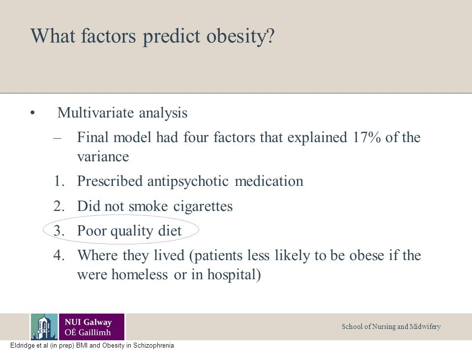 School of Nursing and Midwifery What factors predict obesity.