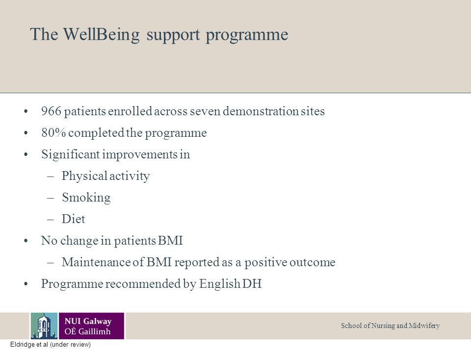 School of Nursing and Midwifery The WellBeing support programme 966 patients enrolled across seven demonstration sites 80% completed the programme Significant improvements in –Physical activity –Smoking –Diet No change in patients BMI –Maintenance of BMI reported as a positive outcome Programme recommended by English DH Eldridge et al (under review)