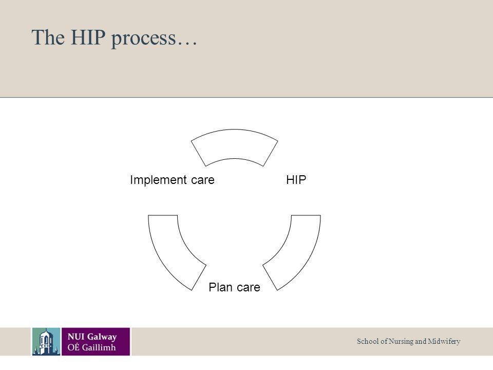 School of Nursing and Midwifery The HIP process… HIP Plan care Implement care