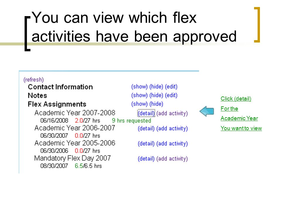You can view which flex activities have been approved Click (detail) For the Academic Year You want to view