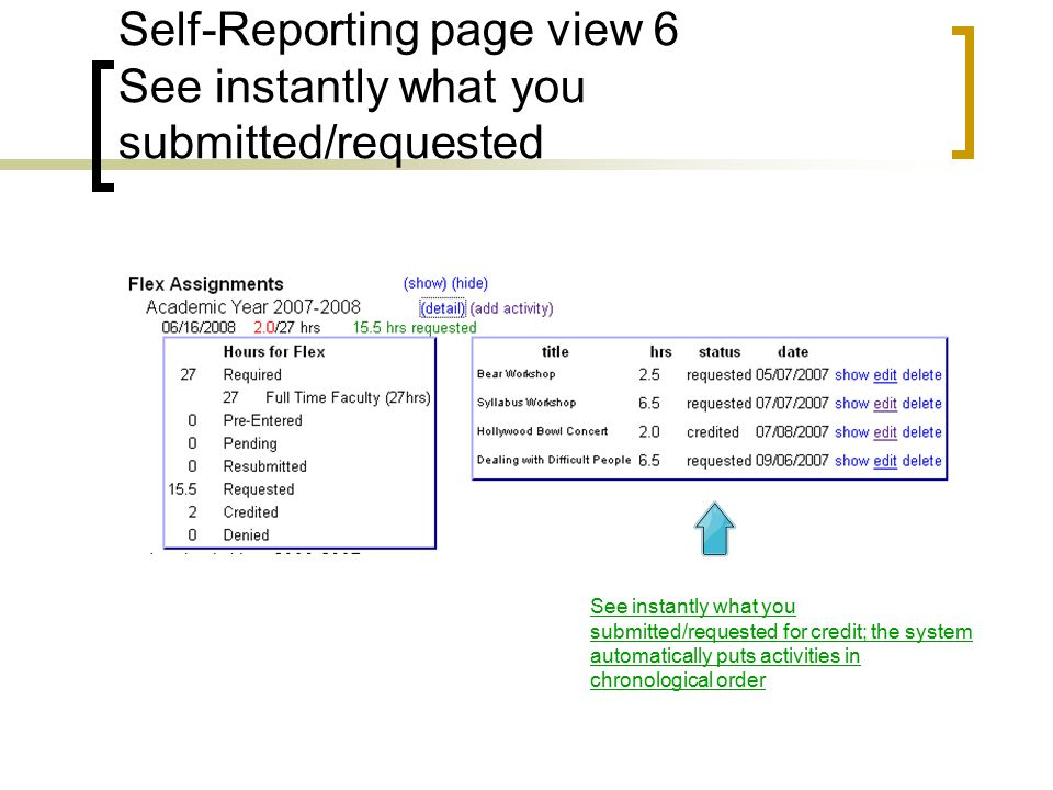 Self-Reporting page view 6 See instantly what you submitted/requested See instantly what you submitted/requested for credit; the system automatically puts activities in chronological order