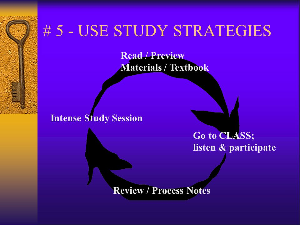 # 5 - USE STUDY STRATEGIES Read / Preview Materials / Textbook Go to CLASS; listen & participate Review / Process Notes Intense Study Session