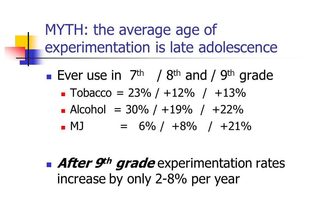 MYTH: the average age of experimentation is late adolescence Ever use in 7 th / 8 th and / 9 th grade Tobacco = 23% / +12% / +13% Alcohol = 30% / +19%