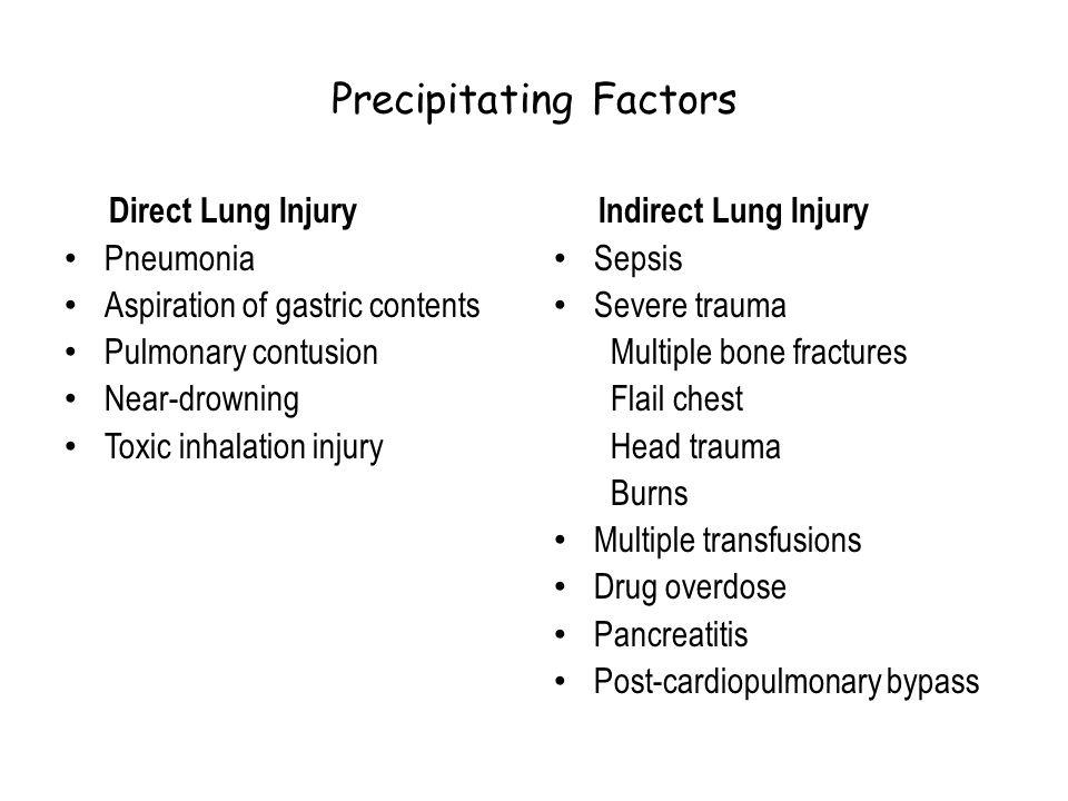 Precipitating Factors Direct Lung Injury Pneumonia Aspiration of gastric contents Pulmonary contusion Near-drowning Toxic inhalation injury Indirect L