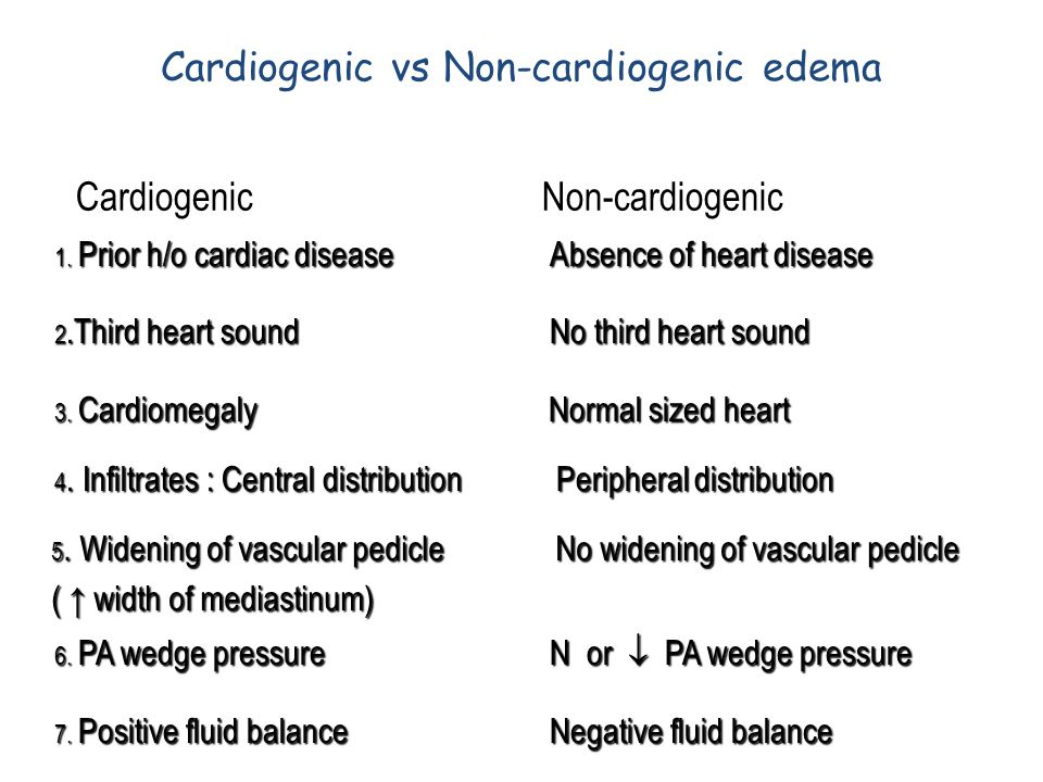 Cardiogenic vs Non-cardiogenic edema 1. Prior h/o cardiac disease 2.Third heart sound 3. Cardiomegaly 4. Infiltrates : Central distribution 5. Widenin