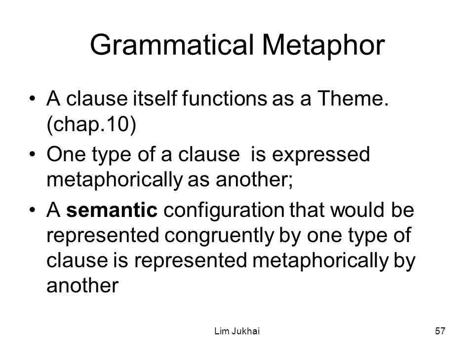 Lim Jukhai57 Grammatical Metaphor A clause itself functions as a Theme.