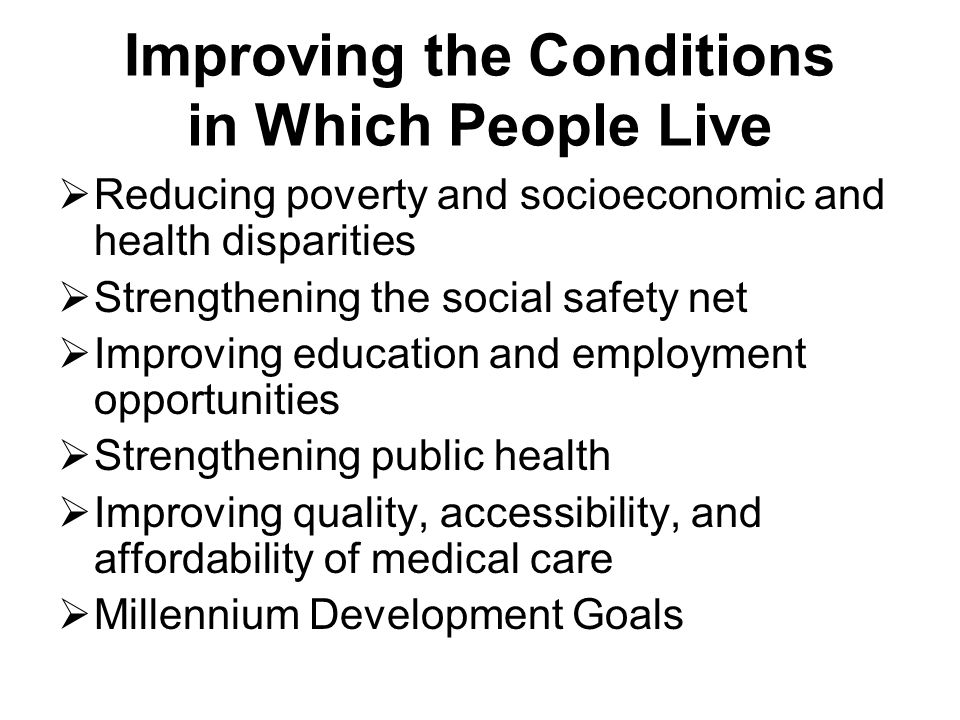 Improving the Conditions in Which People Live  Reducing poverty and socioeconomic and health disparities  Strengthening the social safety net  Improving education and employment opportunities  Strengthening public health  Improving quality, accessibility, and affordability of medical care  Millennium Development Goals