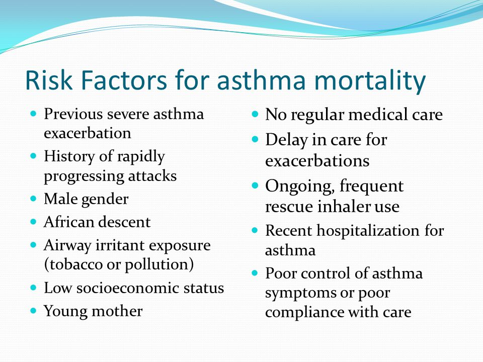 Risk Factors for asthma mortality Previous severe asthma exacerbation History of rapidly progressing attacks Male gender African descent Airway irritant exposure (tobacco or pollution) Low socioeconomic status Young mother No regular medical care Delay in care for exacerbations Ongoing, frequent rescue inhaler use Recent hospitalization for asthma Poor control of asthma symptoms or poor compliance with care