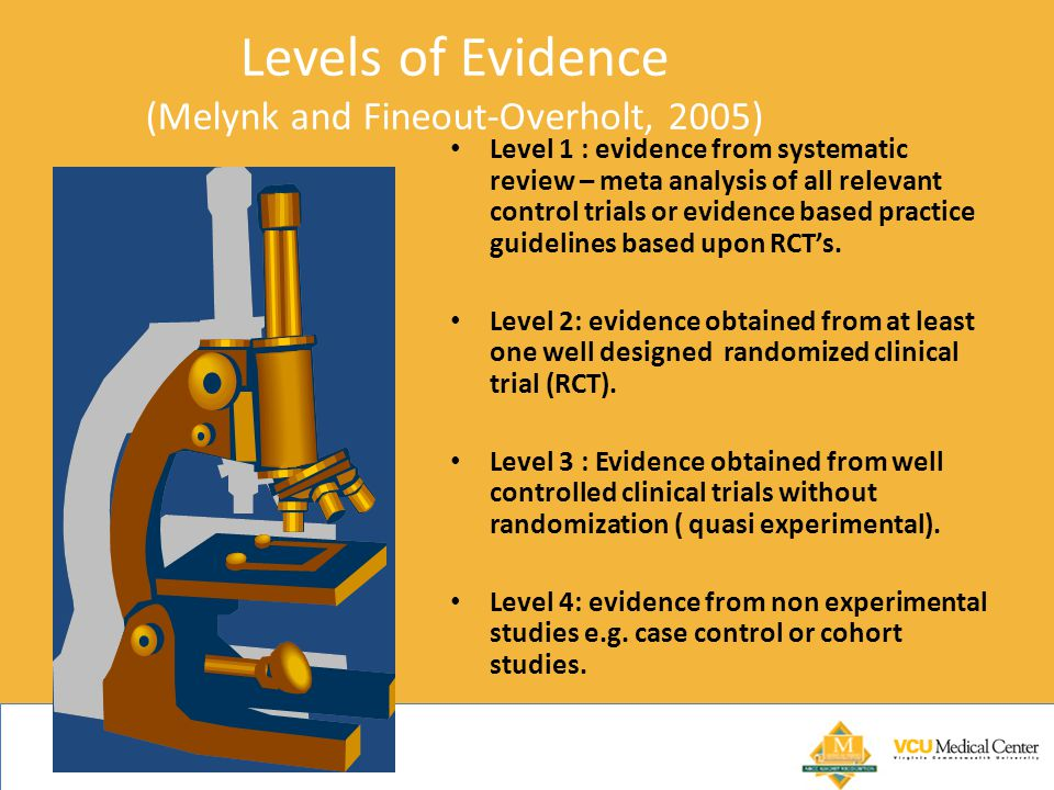 Levels of Evidence (Melynk and Fineout-Overholt, 2005) Level 1 : evidence from systematic review – meta analysis of all relevant control trials or evidence based practice guidelines based upon RCT's.